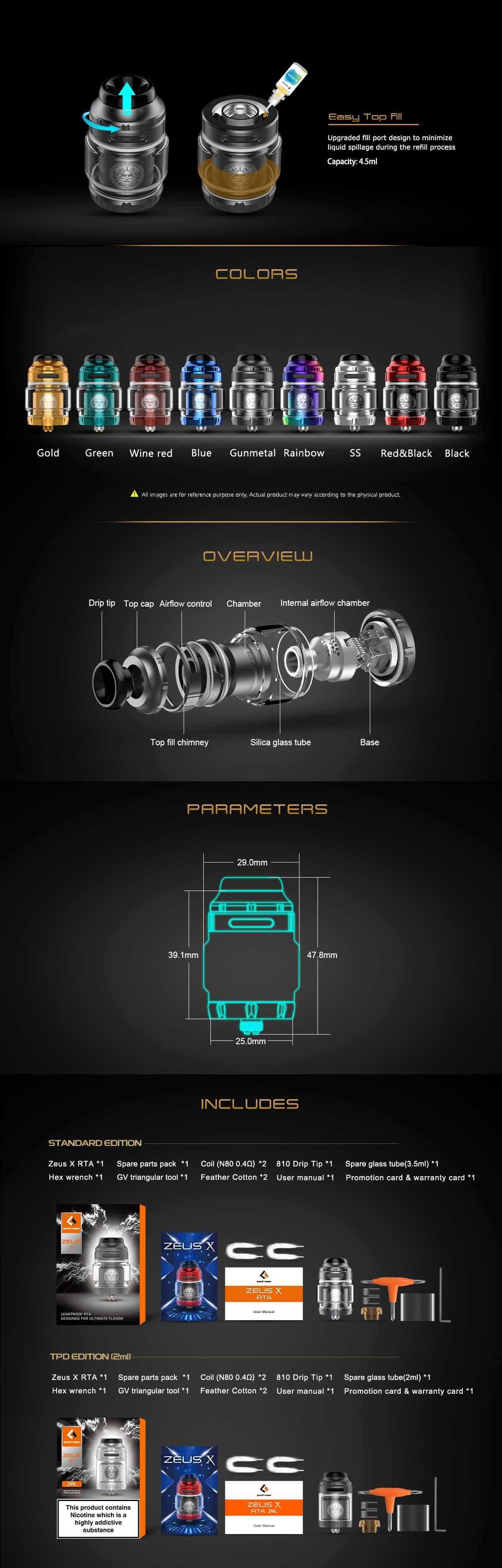 Geekvape Zeus X RTA Atomizer speccs