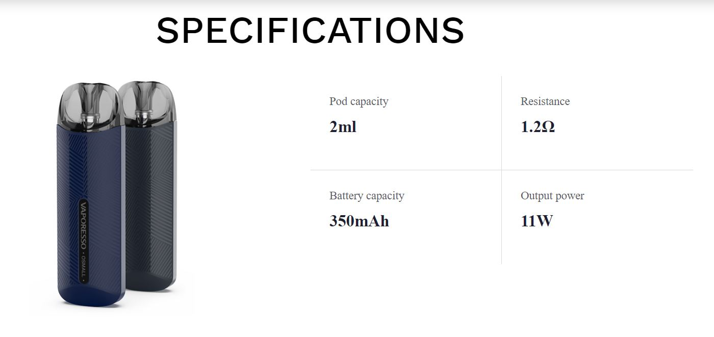 Vaporesso Osmall kit Specifications